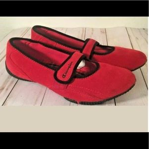 Women's Champions Red Suede flats straps slip on